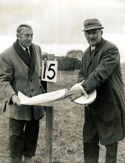 Alex Swan with Henry Cotton marking out the new nine-holes at Eaglescliffe Golf Club (1968)