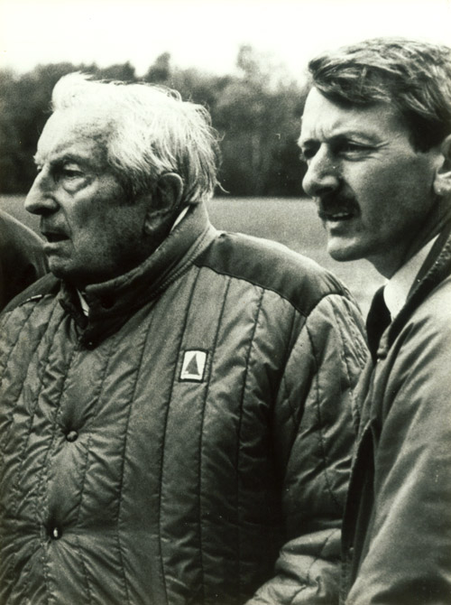 Howard Swan with Sir Henry Cotton on site during the construction of the course at Gosfield Lake Golf Club (1986)